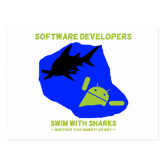 Software Developers Swim With Sharks Android Post Cards