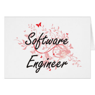 Software Engineer Artistic Job Design with Butterf Card