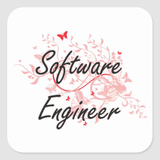 Software Engineer Artistic Job Design with Butterf Square Sticker