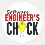 Software Engineer's Chick Round Sticker