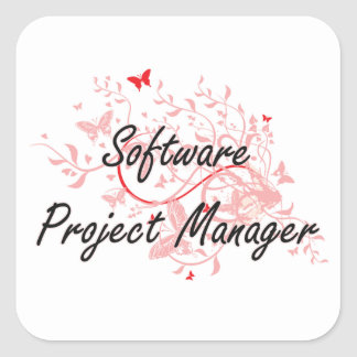 Software Project Manager Artistic Job Design with Square Sticker