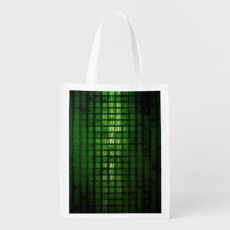 Software Solution with Blurred Code Abstract Backg Reusable Grocery Bag