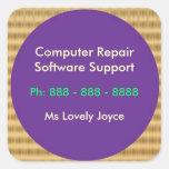 Software support de la reparación n del ordenador pegatina cuadrada