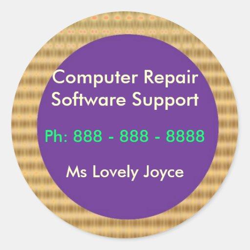 Software support de la reparación n del ordenador pegatina redonda