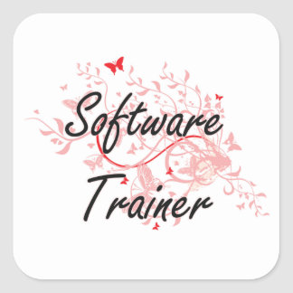 Software Trainer Artistic Job Design with Butterfl Square Sticker