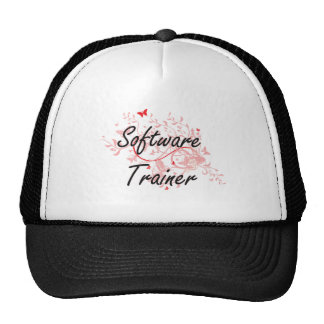 Software Trainer Artistic Job Design with Butterfl Trucker Hat