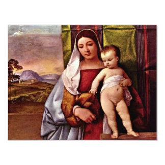 """Sogen. Virgen y niño (Madonna gitano) por Tizian Invitación 4.25"""" X 5.5"""""""