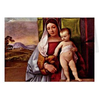 Sogen. Virgen y niño (Madonna gitano) por Tizian Tarjeta De Felicitación