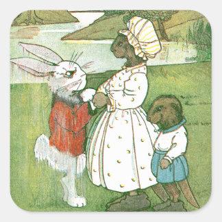 Soggy Rabbit Bids Beavers Adieu Square Sticker