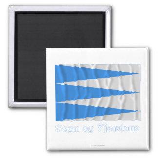 Sogn og Fjordane waving flag with name 2 Inch Square Magnet