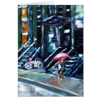Soho en la lluvia tarjeta de felicitación