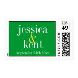 Soild green clean typography save the date wedding postage stamp