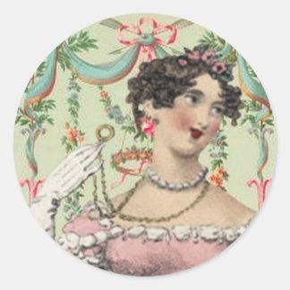 Soiree romántico para Jane Austen Pegatina Redonda