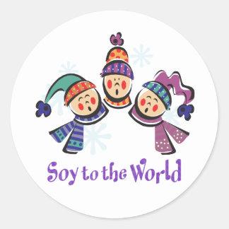 Soja al día de fiesta del mundo etiqueta redonda