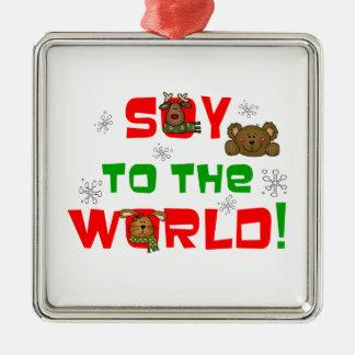 Soja al mundo adorno navideño cuadrado de metal