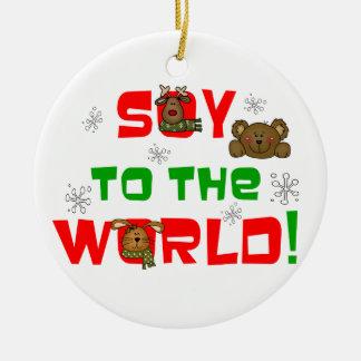 Soja al mundo adorno navideño redondo de cerámica