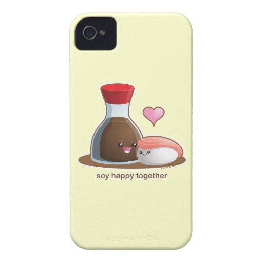 Soja feliz iPhone 4 Case-Mate carcasas