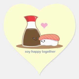 Soja feliz junto pegatina en forma de corazón