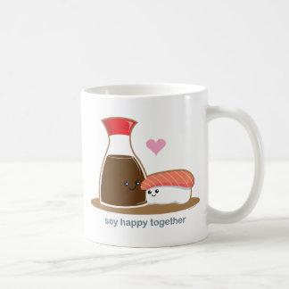 Soja feliz junto taza básica blanca