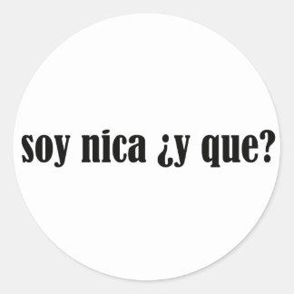 Soja Nica y Que Pegatina Redonda
