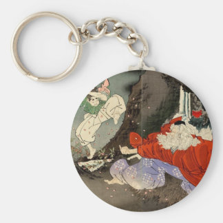 Sojobo Instructs Yoshitsune in the Sword by Tsukio Basic Round Button Keychain