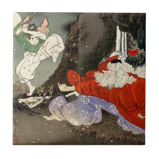 Sojobo Instructs Yoshitsune in the Sword by Tsukio Ceramic Tile