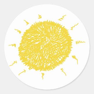 Sol amarilla grande pegatina redonda