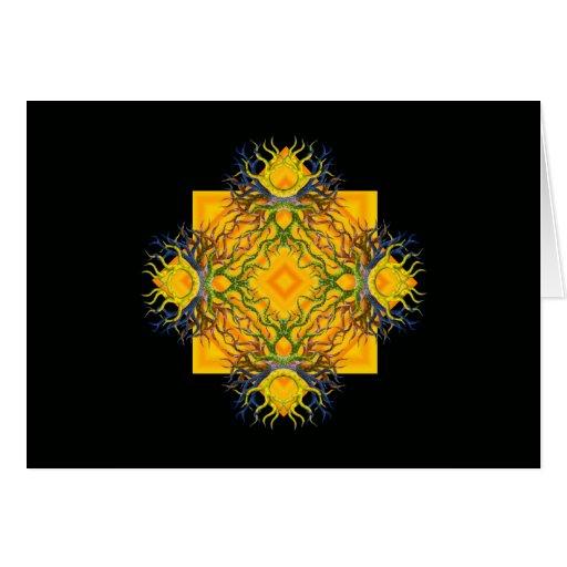 Sol azteca con colores tarjeta de felicitación