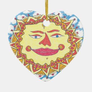 SOL CÓSMICO de Ruth I. Rubin Adorno Navideño De Cerámica En Forma De Corazón
