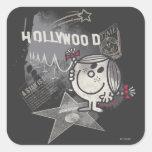 Sol de Hollywood - una estrella nace Pegatinas Cuadradas Personalizadas