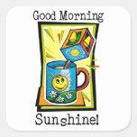 ¡Sol de la buena mañana! Pegatina Cuadrada