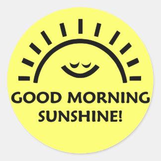 Sol de la buena mañana pegatina redonda