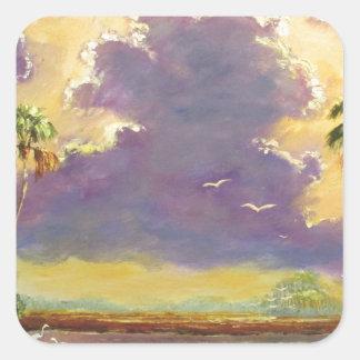 Sol de la Florida con las nubes púrpuras Pegatina Cuadrada