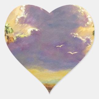 Sol de la Florida con las nubes púrpuras Pegatina En Forma De Corazón