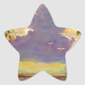 Sol de la Florida con las nubes púrpuras Pegatina En Forma De Estrella
