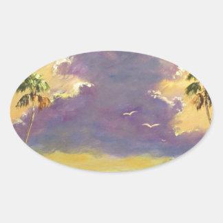 Sol de la Florida con las nubes púrpuras Pegatina Ovalada
