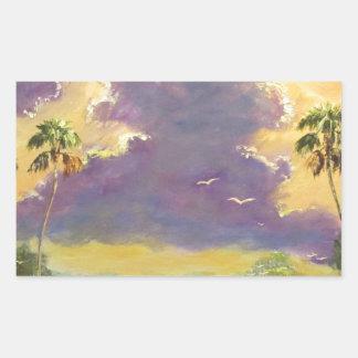 Sol de la Florida con las nubes púrpuras Pegatina Rectangular
