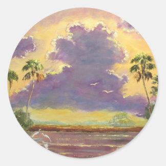 Sol de la Florida con las nubes púrpuras Pegatina Redonda