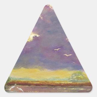 Sol de la Florida con las nubes púrpuras Pegatina Triangular