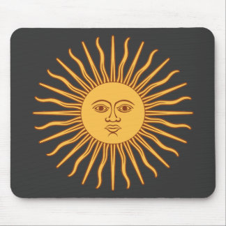 Sol de Mayo Gold Sun Face and Rays on Black Mouse Pad