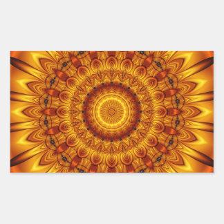 sol de oro de la mandala pegatina rectangular