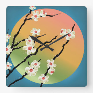 Sol del arco iris y reloj cuadrado del flor
