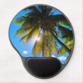 Sol del cielo azul del paraíso de la palma alfombrilla de raton con gel