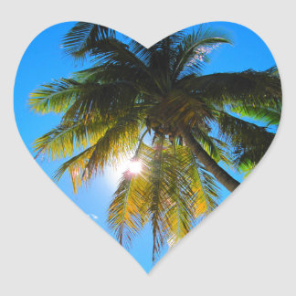 Sol del cielo azul del paraíso de la palma pegatina en forma de corazón