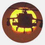 sol del helicóptero etiqueta redonda