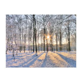 Sol del invierno en bosque nevoso impresión en lona estirada