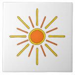 Sol del verano. Amarillo y naranja Azulejos Ceramicos