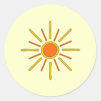 Sol del verano. Amarillo y naranja Pegatina Redonda