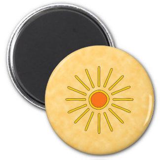 Sol del verano. Colores amarillos calientes Imán De Nevera
