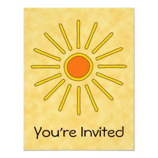 """Sol del verano. Colores amarillos calientes Invitación 4.25"""" X 5.5"""""""